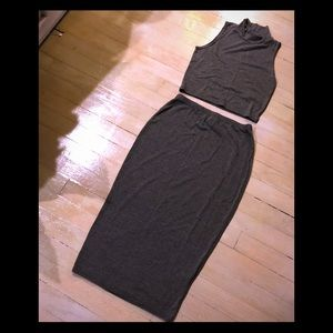 Boohoo Two Piece Charcoal Grey Outfit